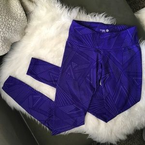 Full length high waisted purple workout leggings